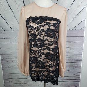 NICOLE MILLER | lace cream blouse XS